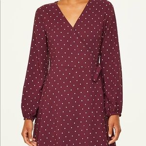 Petite Dotted Wrap Dress NWT